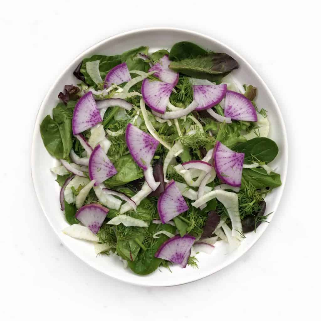 overhead view of fennel salad with purple radish by Chef Whitney Aronoff | Starseed Kitchen