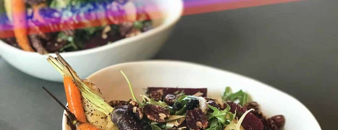 Spirit Salad - Balsamic marinated beet and arugula salad with slivered fennel, warm heirloom carrots and cinnamon toasted pecans - Chef Whitney Aronoff | Starseed Kitchen