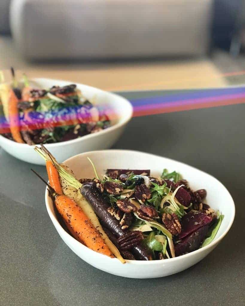 Spirit Salad - Balsamic marinated beet and arugula salad with slivered fennel, warm heirloom carrots and cinnamon toasted pecans - Chef Whitney Aronoff - Starseed Kitchen