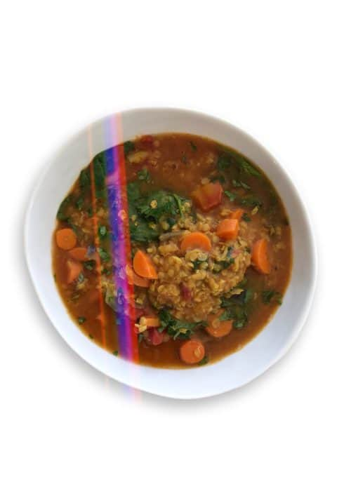 Red Lentil, Carrot & Spinach Soup - Chef Whitney Aronoff | Starseed Kitchen