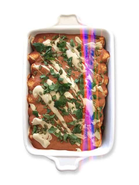 Black Bean & Spinach Enchiladas with Cashew Lime Crema - Chef Whitney Aronoff | Starseed Kitchen