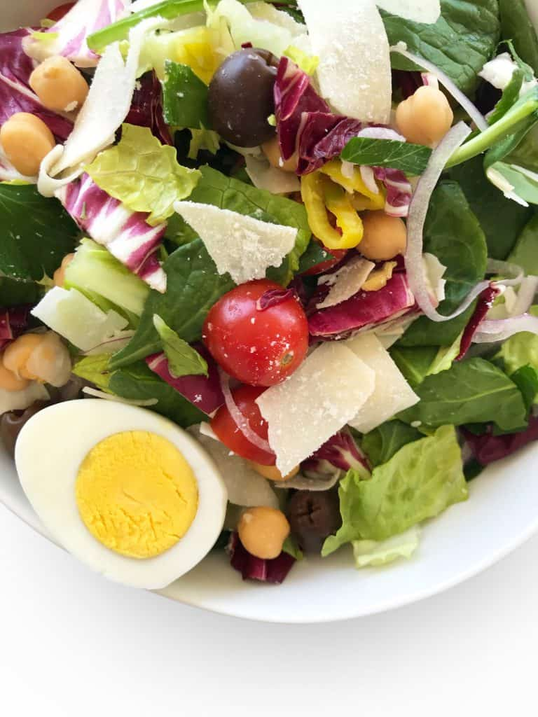 Italian Green Salad with parmesan, garbanzo beans and cherry tomatoes - Chef Whitney Aronoff | Starseed Kitchen