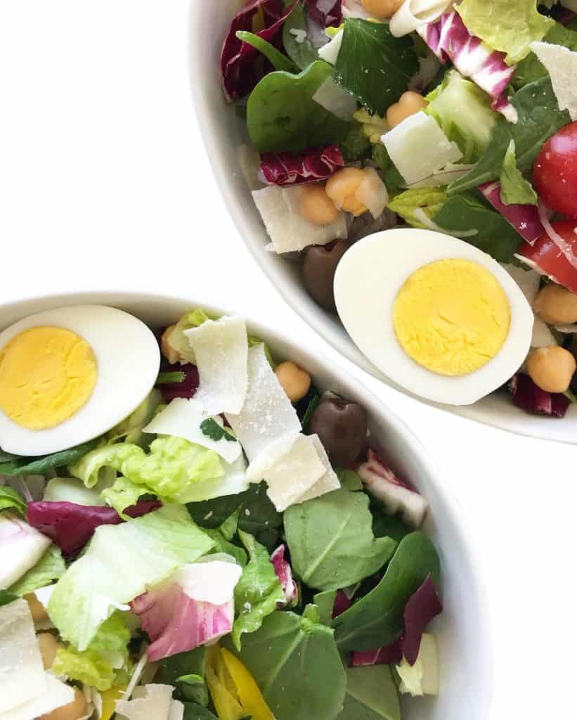 Italian Green Salad with parmesan, garbanzo beans and cherry tomatoes - Chef Whitney Aronoff   Starseed Kitchen