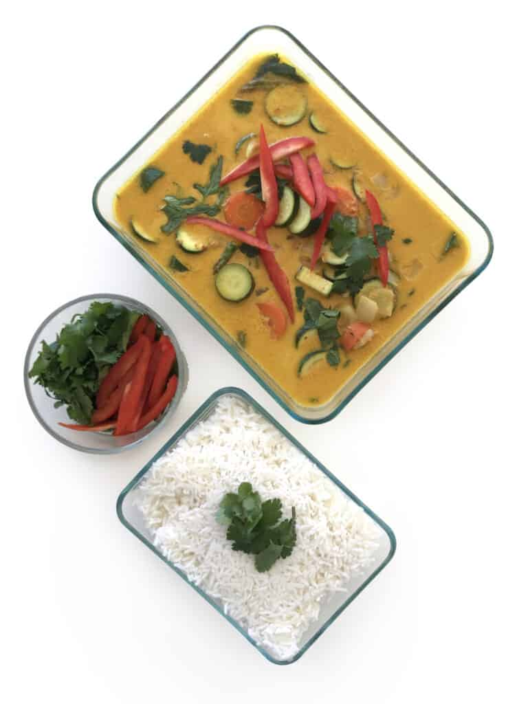 Healthy Yellow Vegetable Curry with vegetables for meal prep. Enjoy with cilantro, red bell pepper and rice | StarseedKitchen.com