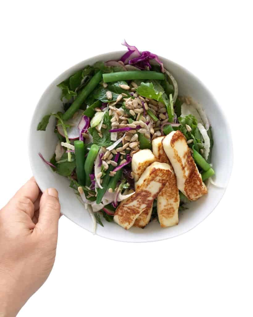 Lemony Fennel Salad with Green Beans & Fried Halloumi - Chef Whitney Aronoff | Starseed Kitchen