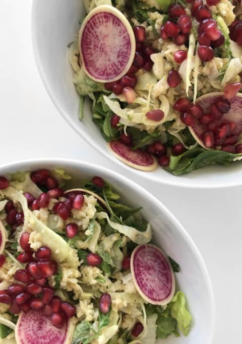 Colorful Freekeh Tabbouleh Salad with Fennel, Pomegranates & Romaine Lettuce for a healthy meal prep lunch - Vegan & Vegetarian