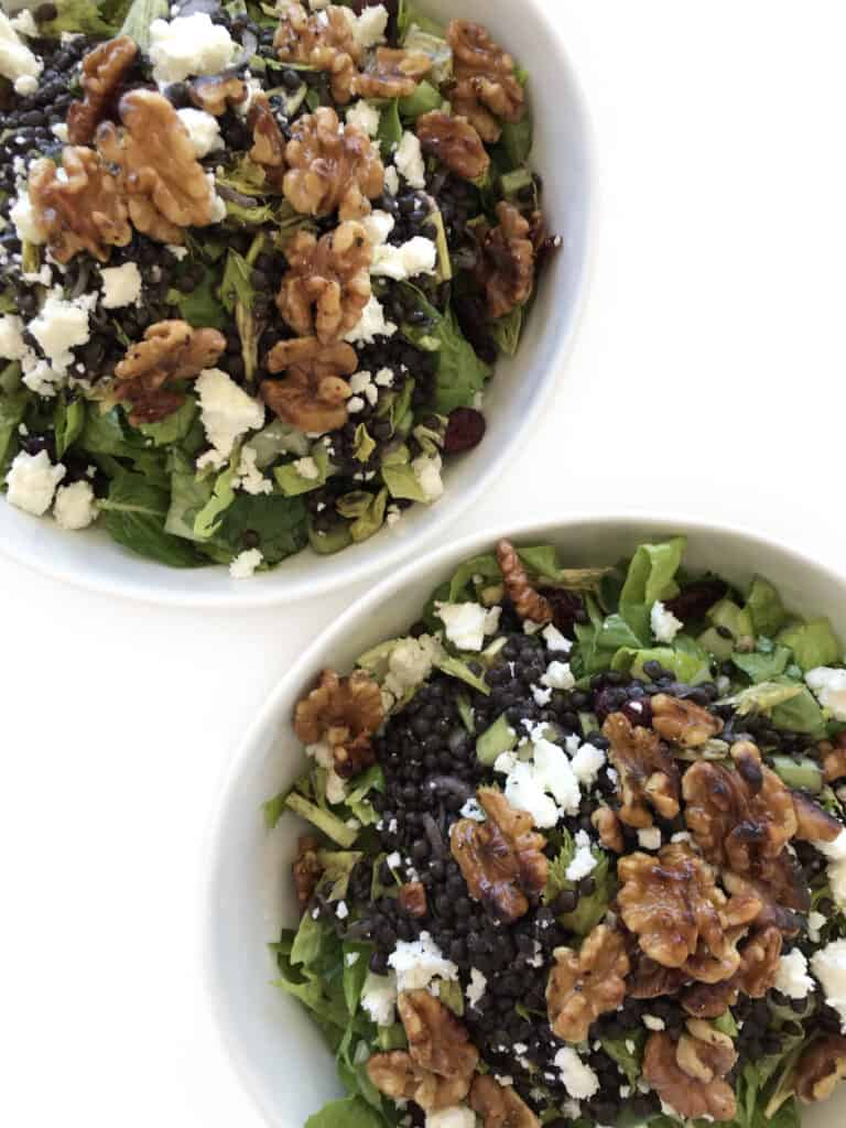 Black Beluga Lentils with Walnuts and Feta Cheese