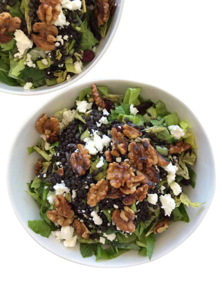 Black Beluga Lentil Salad with Dried Cranberries, Walnuts and Feta Cheese