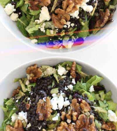 Black Beluga Lentils with Feta Salad for Lunch or Meal Prep