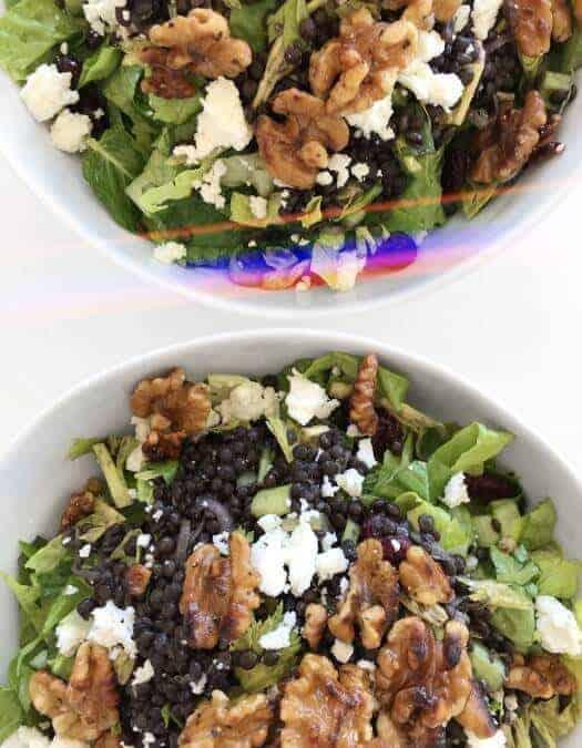 Black Beluga Lentils with Feta Salad for Lunch or Meal Prep