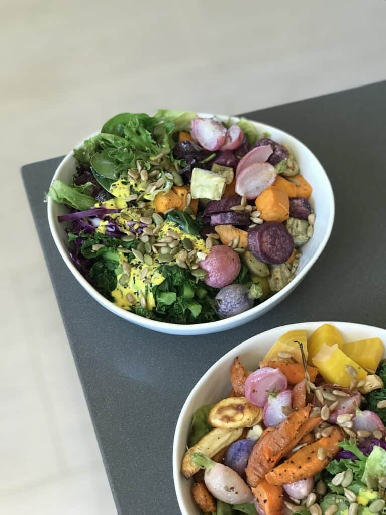 Rainbow Buddha Bowls with roasted vegetables and turmeric tahini dressing