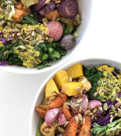 Colorful Buddha Bowl with Turmeric Tahini Dressing