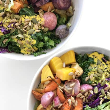 Colorful Buddha Bowl with Turmeric Tahini Dressing - Starseed Food