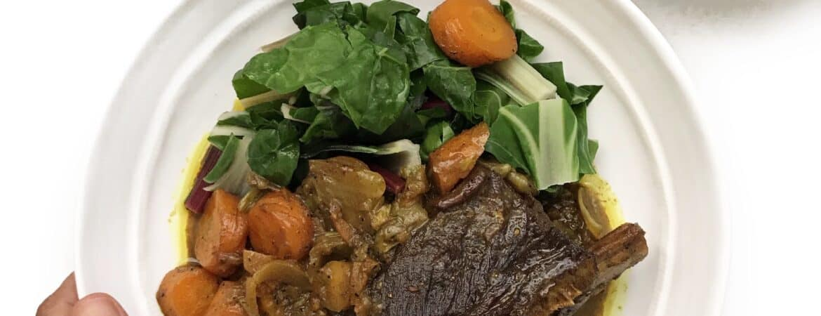 How to serve Moroccan Beef Short Ribs with carrots, parsnips and chard