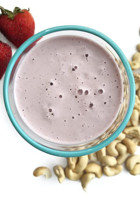 Thick and creamy sugar free cashew milk with strawberry