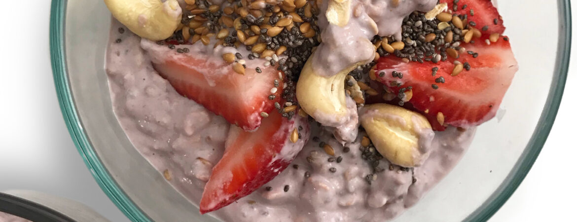 Strawberries and cream overnight oats that is vegan and gluten free