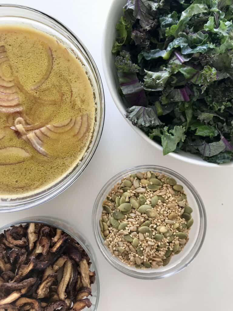 Ingredients for an Asian Kale Salad with Tamari Lemon Dressing and Shiitake Bacon