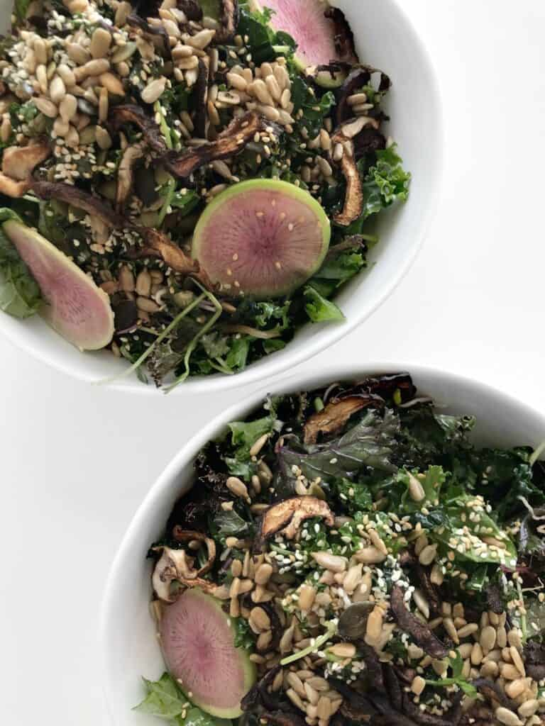 Massaged Kale Salad with Shiitake Mushroom Bacon and Tamari Lemon Dressing