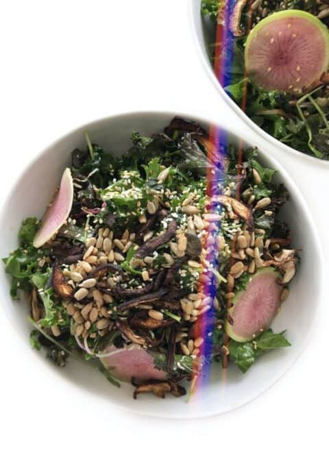 Massaged Kale Salad with Shiitake Mushroom Bacon and Tamari Lemon Dressing