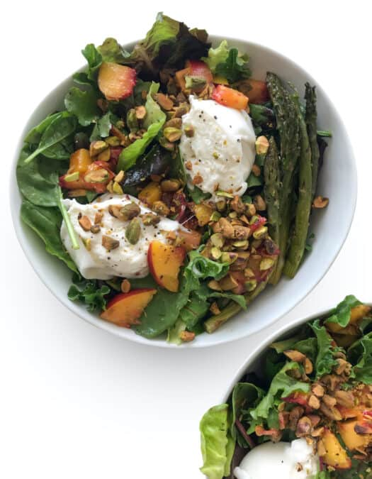 Peach & Burrata Cheese Butter Lettuce Salad