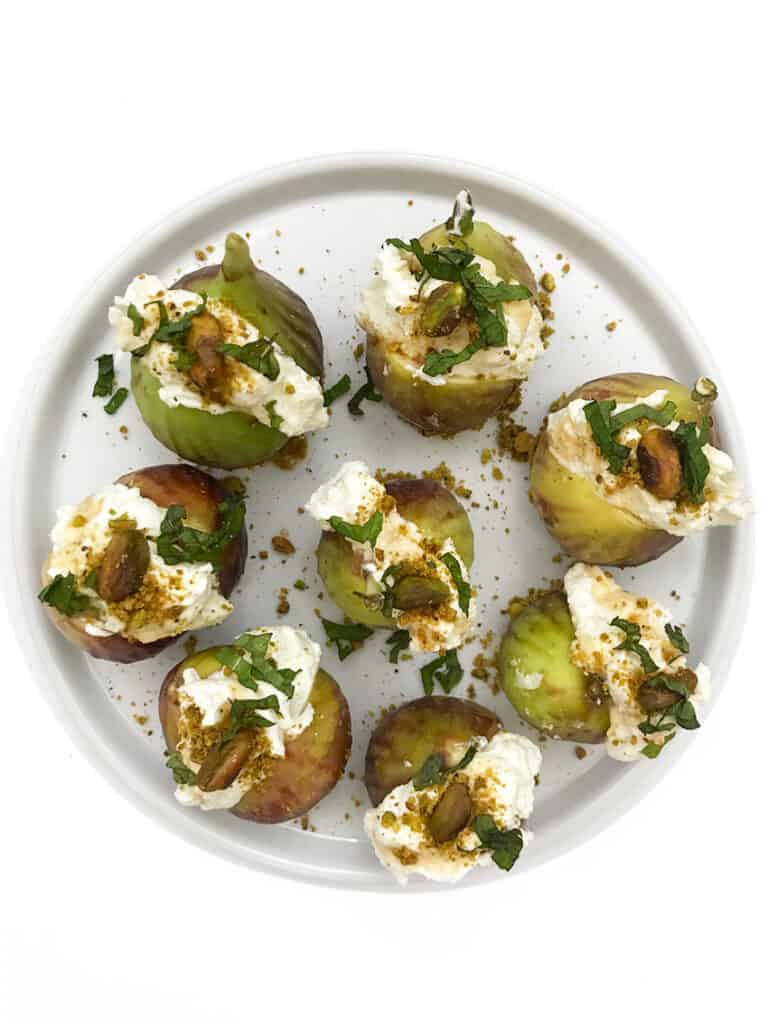 Appetizer Stuffed Figs with Whipped Feta and Pistachios
