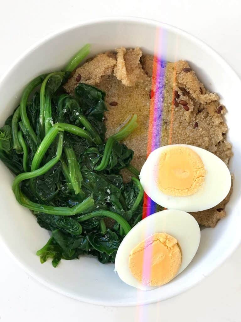 Savory Amaranth Breakfast Bowl Recipe with Spinach & Hard Boiled Egg