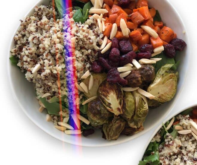 Roasted Vegetable Salad with Carrots, Brussels Sprouts, Quinoa & Dried Cranberries