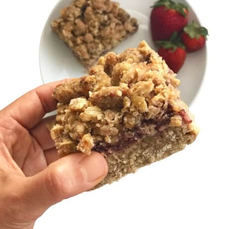 Healthy Low Sugar Oat Bars with Strawberry Jam