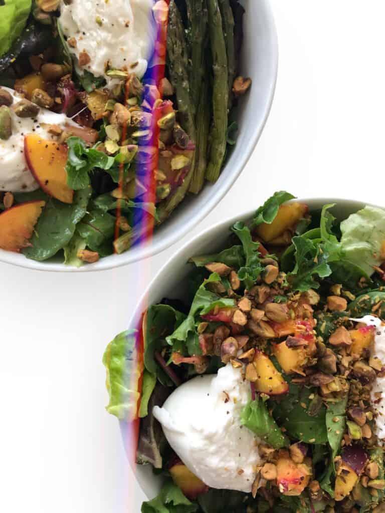 Peach & Burrata Cheese Butter Lettuce Salad